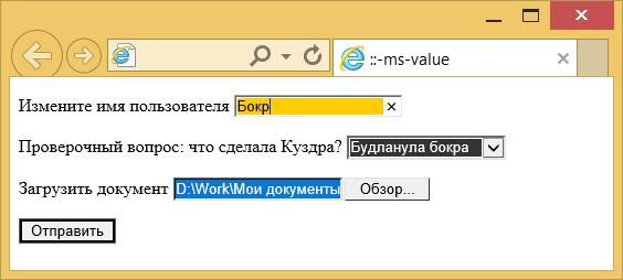 Вид элементов формы изменённых с помощью ::-ms-value