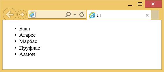 Вид маркированного списка в браузере
